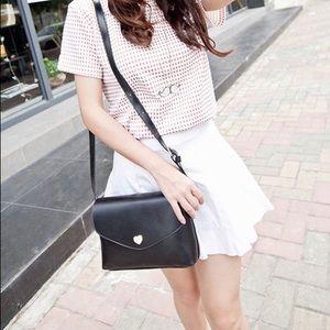 Handbags - Adorable Black Shoulder Bag with Heart detail